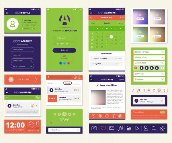 Mobile apps screen elements (Turbo Premium Space)