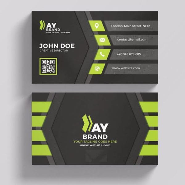 Modern Green And Black Business Card (Turbo Premium Space)