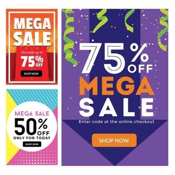 Modern Mega Sale Banner Set Illustration (Turbo Premium Space)