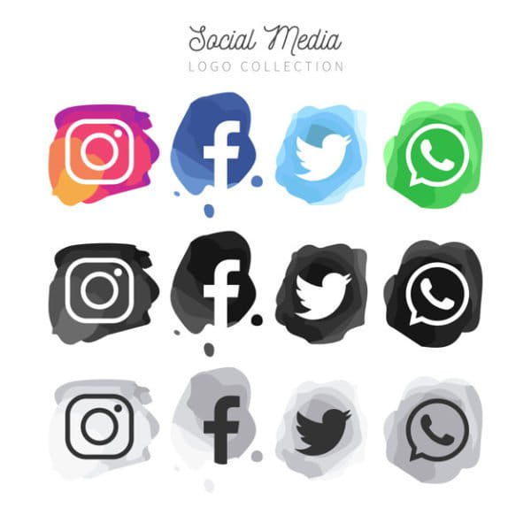 Modern watercolor social