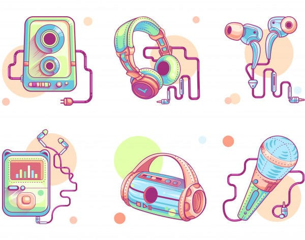 Music or audio line art icons (Turbo Premium Space)