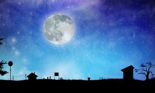 Night View Moon Starry Sky Night Illustration