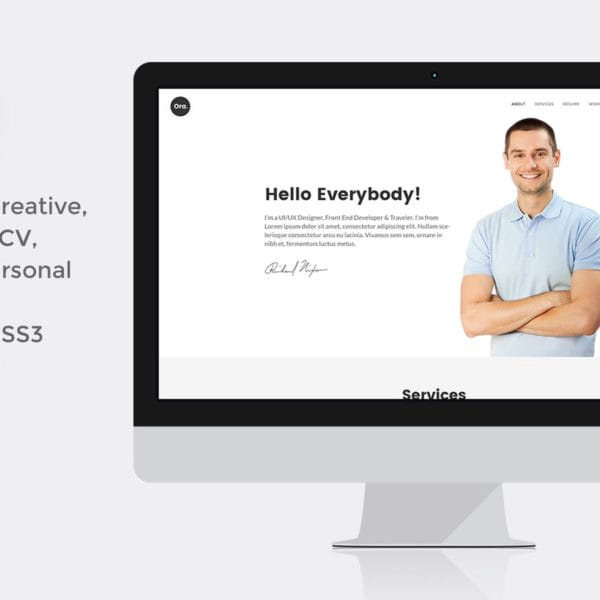 Ora Resume vCard Personal Portfolio HTML5 Template