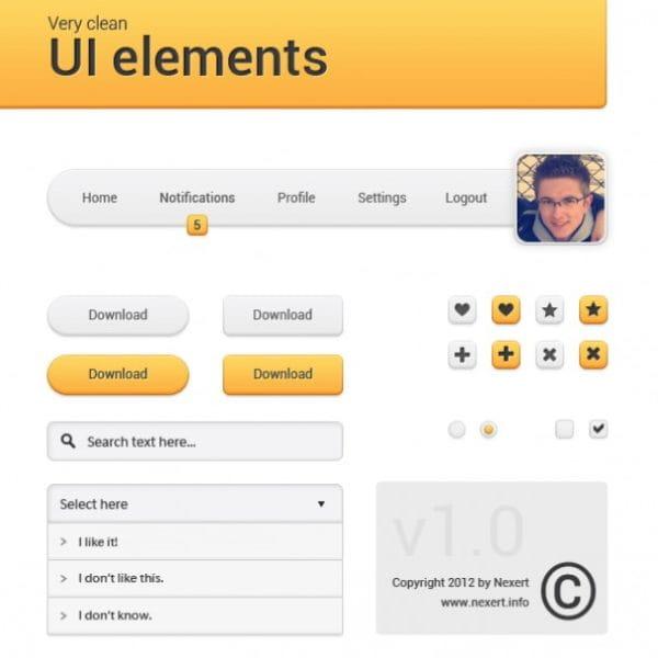 Orange navigation menu