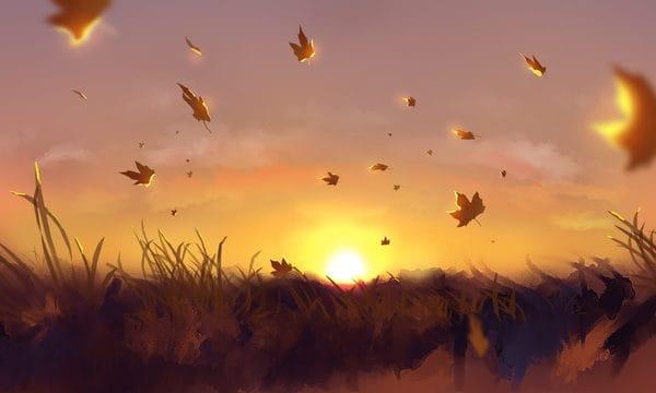 Original Illustration Beautiful Autumn Evening Illustration