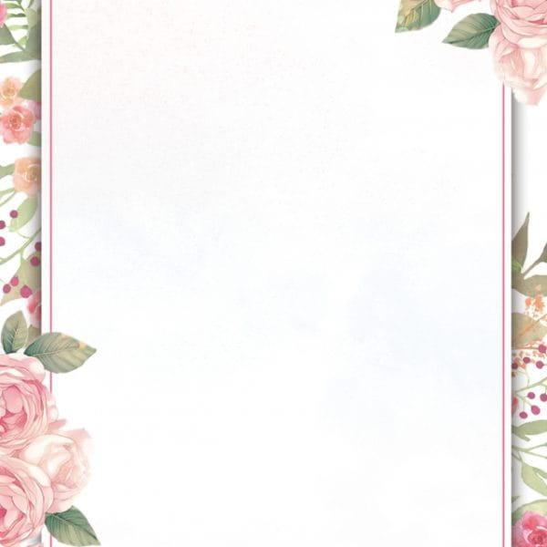 Painted Flowers Border Invitation Background Design (Turbo Premium Space)