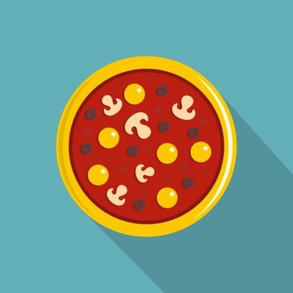 Pizza With Yolk Olives Mushrooms Tomato Icon