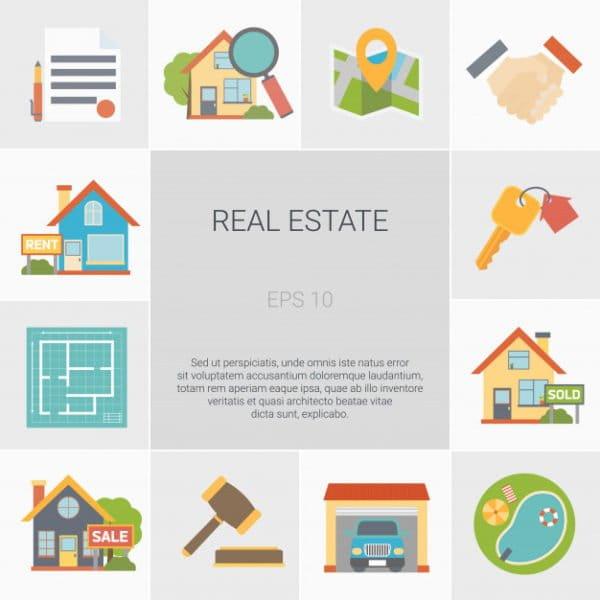 Real estate square icons set