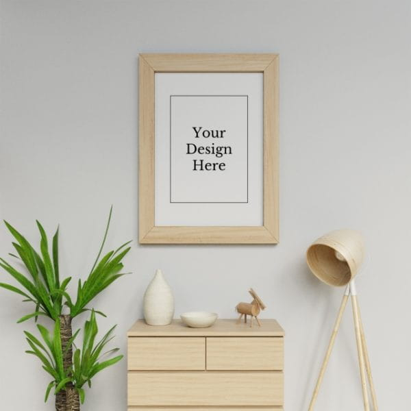 Realistic Single A1 Poster Frame Mock Up Design Template Hanging Portrait In White Scandinavia Interior Space