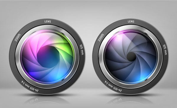 Realistic clipart with two camera lenses, photo objectives