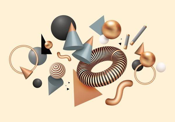 Realistic floating geometric