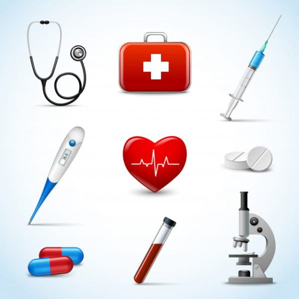 Realistic medical objects set
