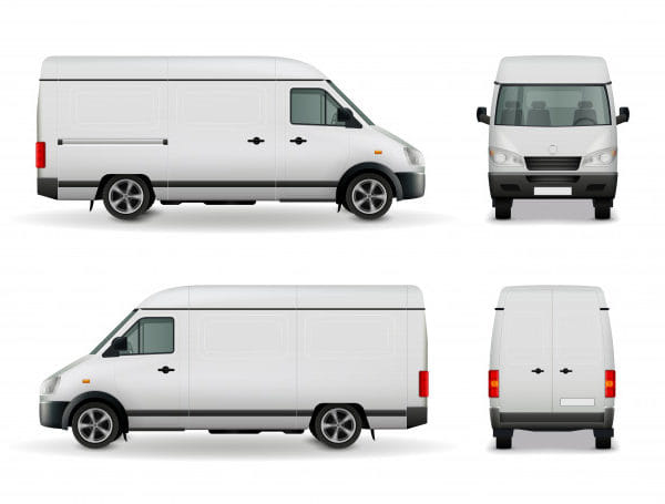 Realistic white cargo van
