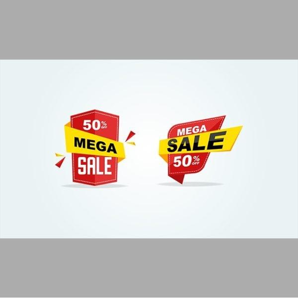Red Big Sale Label 50 Offer Discount Big Sale Tag (Turbo Premium Space)