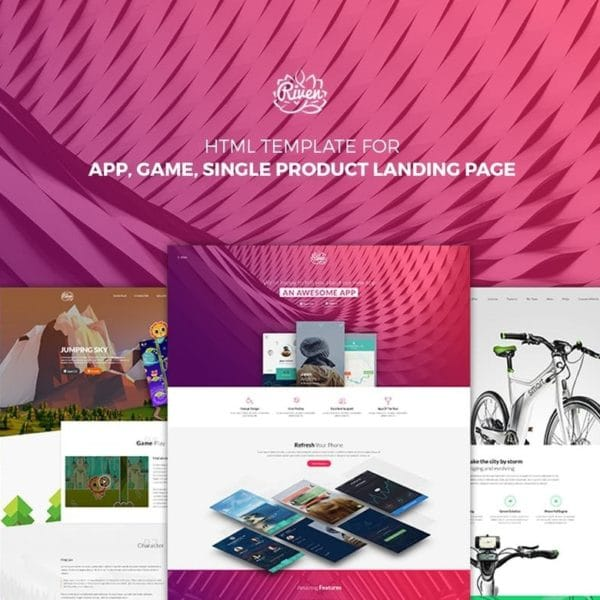 Riven - HTML Template for App, Game, Products