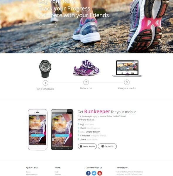 Runkeeper a mobile app Responsive web Template