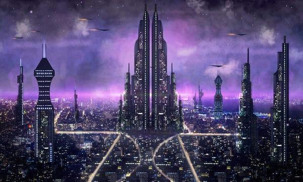 Science Fiction City Night View Good World Illustration (Turbo Premium Space)
