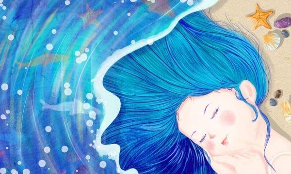 Sea Teenage Girl Blue Hand Painted Fish Illustration (Turbo Premium Space)