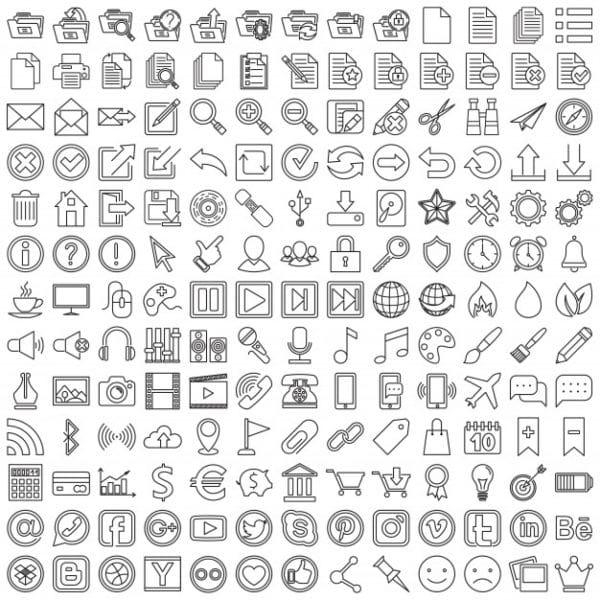 Set of linear web icons (Turbo Premium Space)