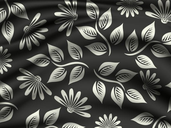 Silver Floral Patterns On Silk Background (Turbo Premium Space)