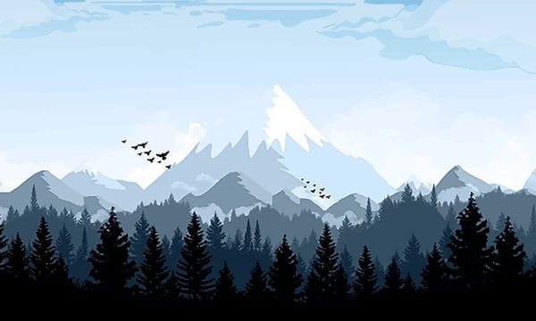 Snowy Mountain In The Forest Of Good Morning Illustration (Turbo Premium Space)