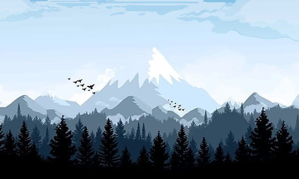 Snowy Mountain In The Forest Of Good Morning Illustration