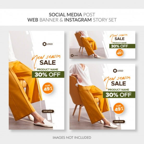 Social media post web banner and instagram story set (Turbo Premium Space)