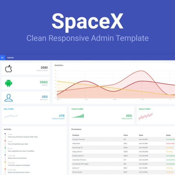 SpaceX - Bootstrap Admin Template