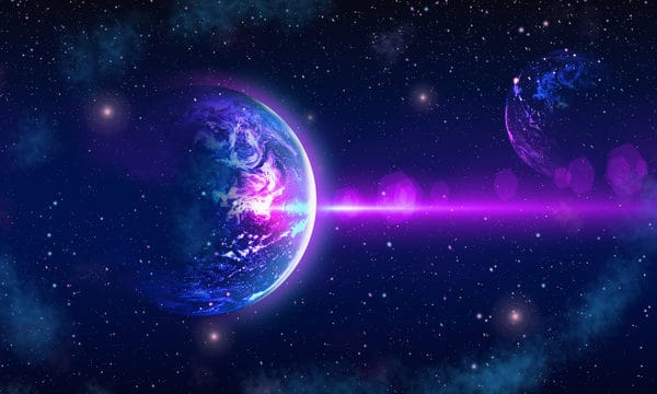 Starry Glamour Dream Earth Beautiful Purple Blue Gradient Background Poster Illustration (Turbo Premium Space)