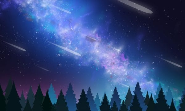 Starry Sky Background Blue Forest Illustration