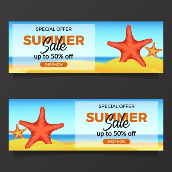 Summer Holiday Sale Offer With Illustration Of Starfish