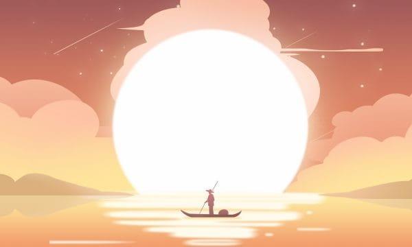 Sunset Cloud Sky Fisherman Illustration