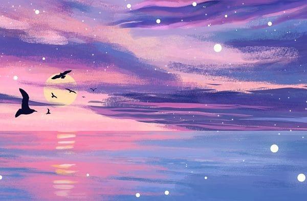 Sunset Sky Ocean Sea level Illustration (Turbo Premium Space)