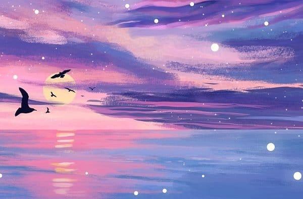 Sunset Sky Ocean Sea level Illustration