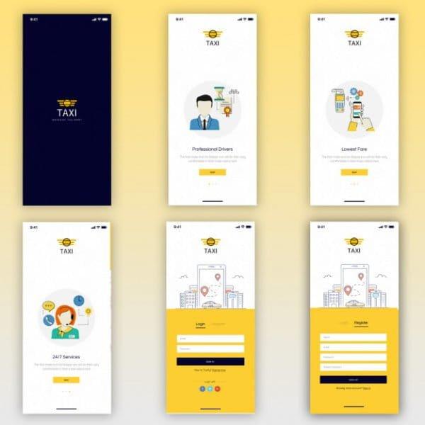 Taxi booking mobile ui kit (Turbo Premium Space)