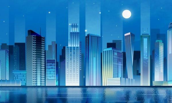 Technology City Stereo Illustration High Building Illustration
