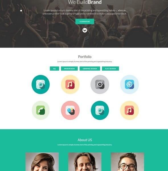 Bak One singlepage Flat Corporate Responsive website template