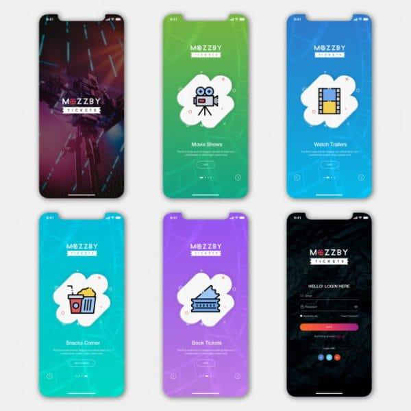 Ticket booking mobile app ui (Turbo Premium Space)