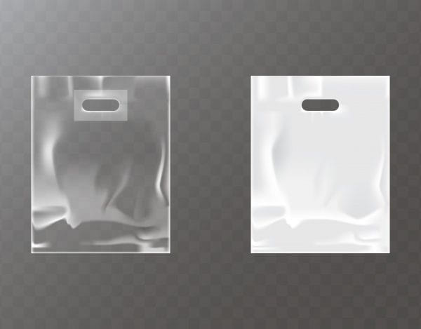 Transparent and white plastic bag