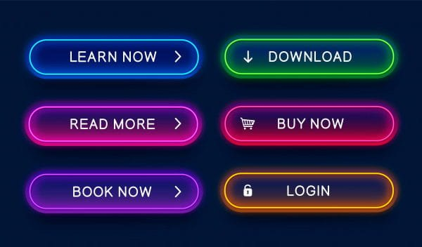 Trendy, glowing, neon buttons