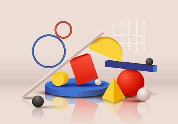 Variety of colorful geometric (Turbo Premium Space)