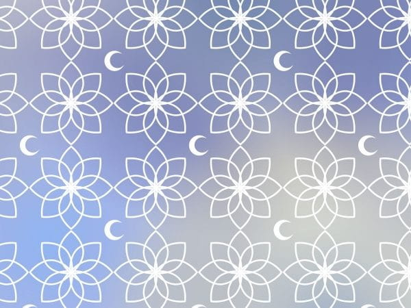 Wallpaper Pattern Gradient Blue With Moon And Islamic Ornament (Turbo Premium Space)
