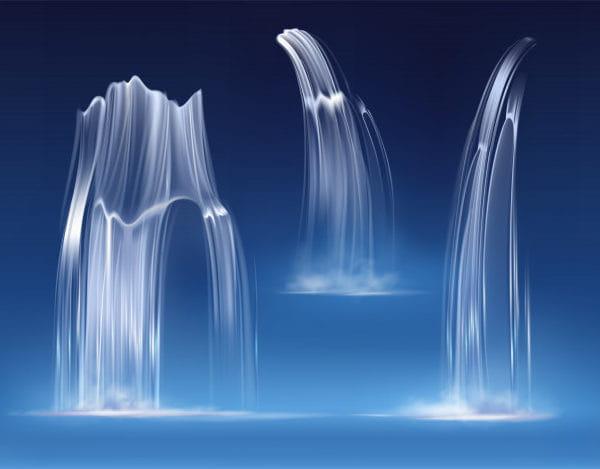 Waterfall cascade, realistic water fall streams (Turbo Premium Space)