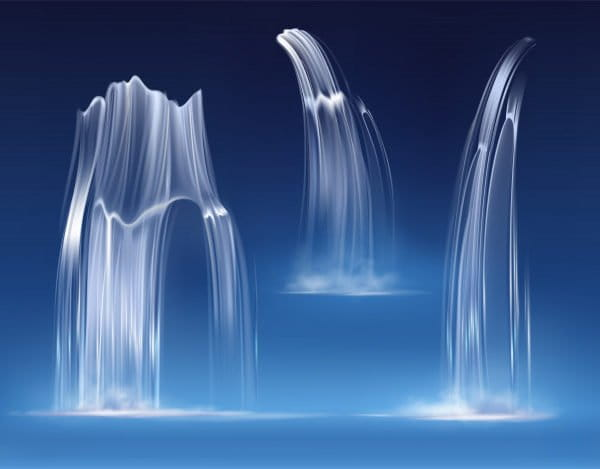 Waterfall cascade, realistic water fall streams