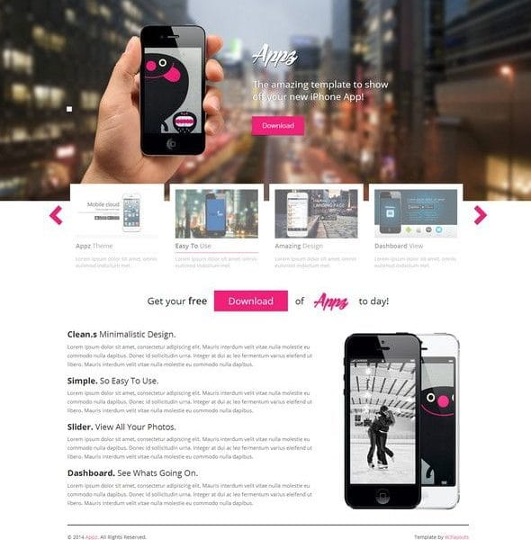 Mobile App Single page Responsive website template