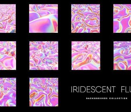 10 Iridescent Pink Fluid Texture Set
