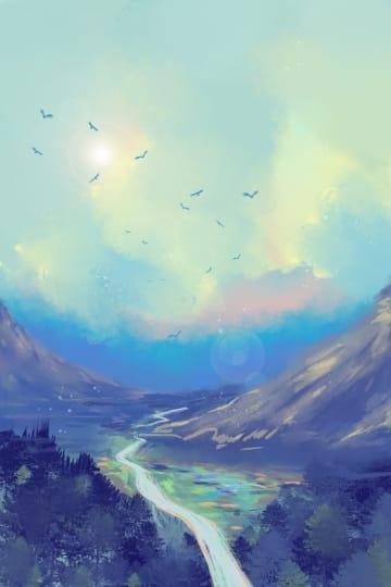 Blue Sky White Forest Mountain Peak Illustration (Turbo Premium Space)