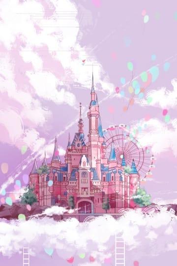 Castle Pink Ladder Illustration (Turbo Premium Space)