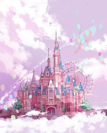 Castle Pink Ladder Illustration
