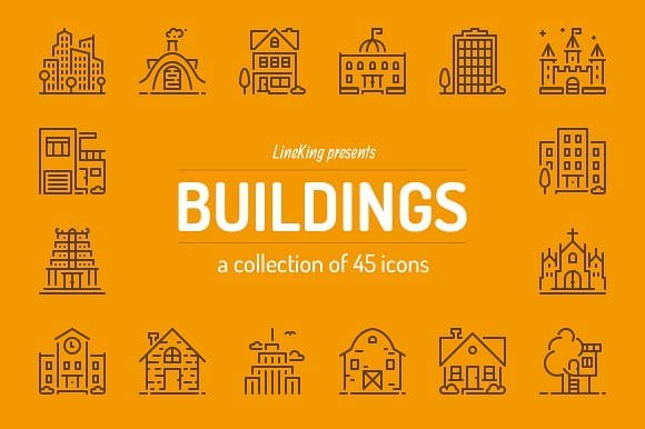 Buildings Line Icons (Turbo Premium Space)